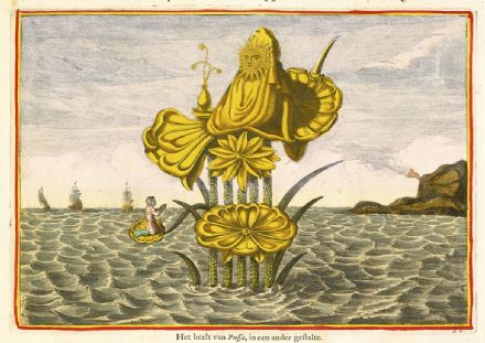 Kircher, Athanasius: The Goddess Pussa on a Lotus. Fine Art Print/Poster (4361)